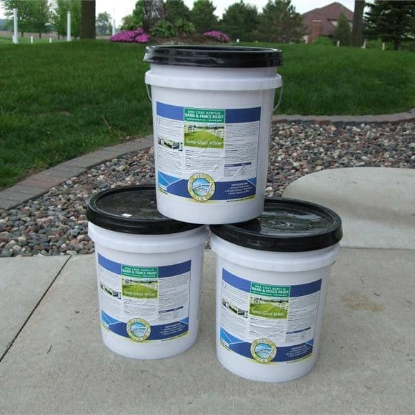 White Fence Paint Buckets
